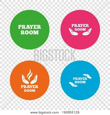 Prayer room icons. Religion priest faith symbols. Pray with hands. Round buttons on transparent background. Vector