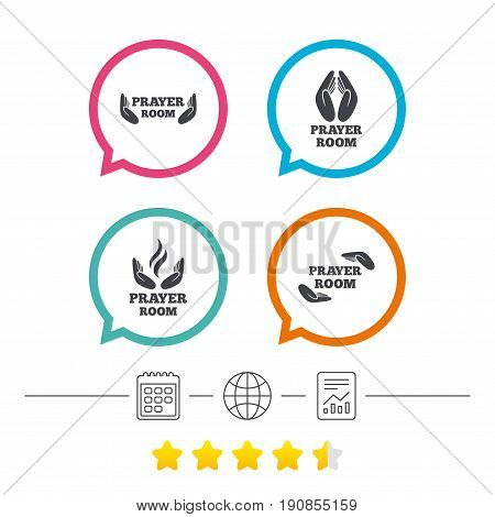 Prayer room icons. Religion priest faith symbols. Pray with hands. Calendar, internet globe and report linear icons. Star vote ranking. Vector