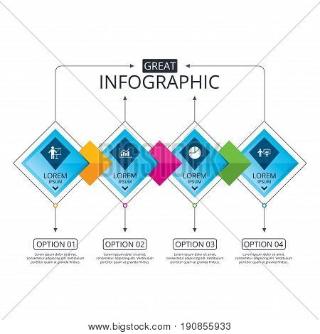 Infographic flowchart template. Business diagram with options. Diagram graph Pie chart icon. Presentation billboard symbol. Supply and demand. Man standing with pointer. Timeline steps. Vector