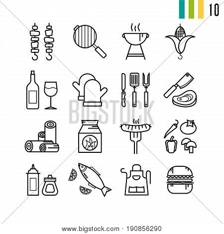Vector outline set of BBQ grill icons. Sixteen pictograms for summer nature picnic on white background