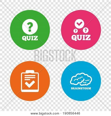 Quiz icons. Human brain think. Checklist with check mark symbol. Survey poll or questionnaire feedback form sign. Round buttons on transparent background. Vector