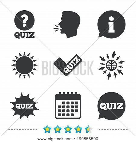 Quiz icons. Speech bubble with check mark symbol. Explosion boom sign. Information, go to web and calendar icons. Sun and loud speak symbol. Vector