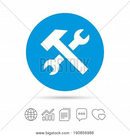 Repair tool sign icon. Service symbol. Hammer with wrench. Copy files, chat speech bubble and chart web icons. Vector