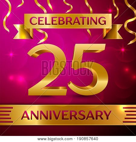 Twenty five Years Anniversary Celebration Design. Confetti and golden ribbon on pink background. Colorful Vector template elements for your birthday party. Anniversary ribbon