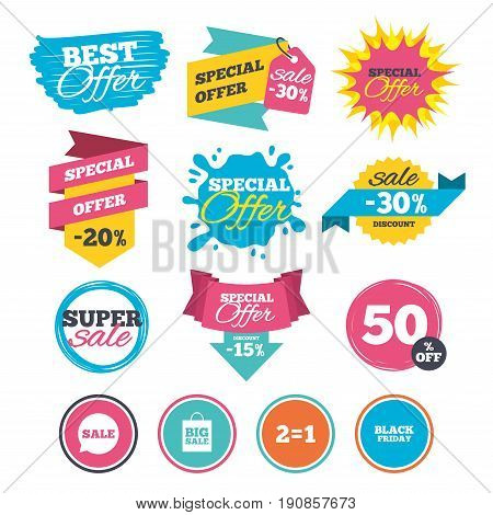 Sale banners, online web shopping. Sale speech bubble icons. Two equals one. Black friday sign. Big sale shopping bag symbol. Website badges. Best offer. Vector
