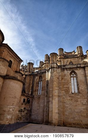 Architectural details of the Cathedral of Tortosa, medieval town on Ebro river, tourist destination in Catalonia