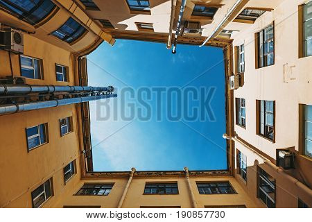 Yard-well kind of bottom-up, typical architecture In the center of historical St. Petersburg, Russia