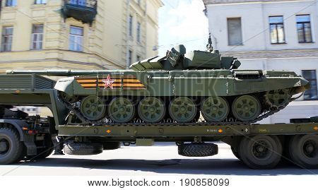 St.Petersburg, Russia - 9 May 2017. Celebration of Victory Day:Tank transportation