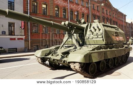 St.Petersburg, Russia - May 9 2017. Celebration of Victory Day: Self-propelled gun