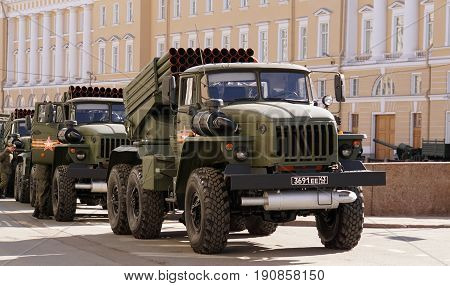 St.Petersburg, Russia - 9 May 2017. The celebration of Victory Day: The BM-21