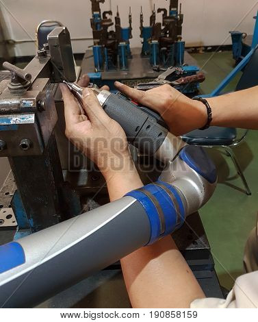 workers,  calibration inspecting measure accuracy machine tool