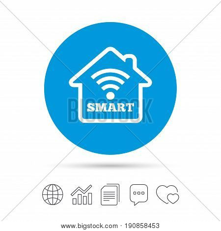 Smart home sign icon. Smart house button. Remote control. Copy files, chat speech bubble and chart web icons. Vector