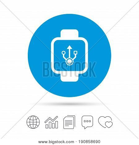 Smart watch sign icon. Wrist digital watch. USB data symbol. Copy files, chat speech bubble and chart web icons. Vector