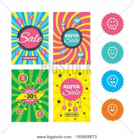 Web banners and sale posters. Happy face speech bubble icons. Smile sign. Map pointer symbols. Special offer and discount tags. Vector