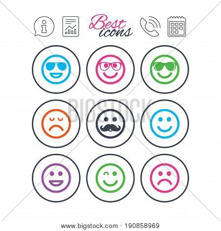 Information, report and calendar signs. Smile icons. Happy, sad and wink faces signs. Sunglasses, mustache and laughing lol smiley symbols. Phone call symbol. Classic simple flat web icons. Vector