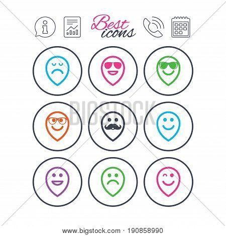 Information, report and calendar signs. Smile pointers icons. Happy, sad and wink faces signs. Sunglasses, mustache and laughing lol smiley symbols. Phone call symbol. Classic simple flat web icons