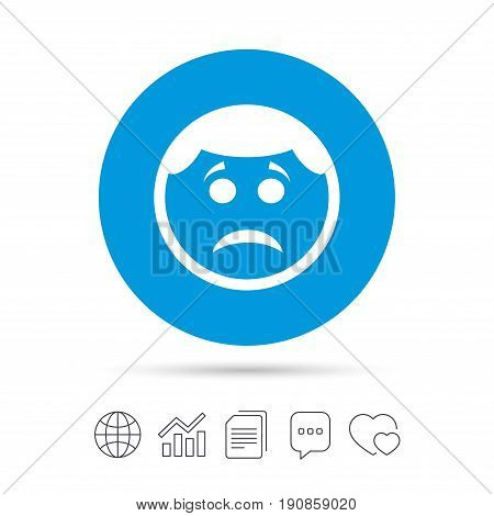 Sad face sign icon. Sadness depression chat symbol. Copy files, chat speech bubble and chart web icons. Vector