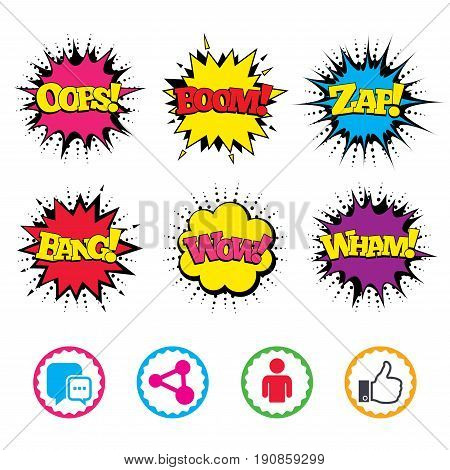Comic Wow, Oops, Boom and Wham sound effects. Social media icons. Chat speech bubble and Share link symbols. Like thumb up finger sign. Human person profile. Zap speech bubbles in pop art. Vector