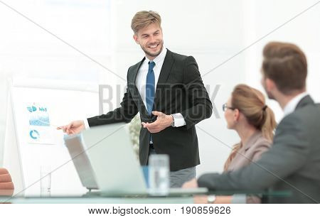 Successful business presentation of a woman at the office
