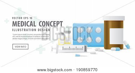 Banner Capsule Bottle And Pills Medicine Panel And Injection Needle Illustration Vector On White Bac