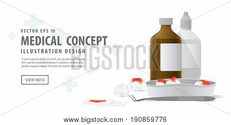 Banner Tool And Equipment For Clean The Wound Illustration Vector On White Background. Medical Conce