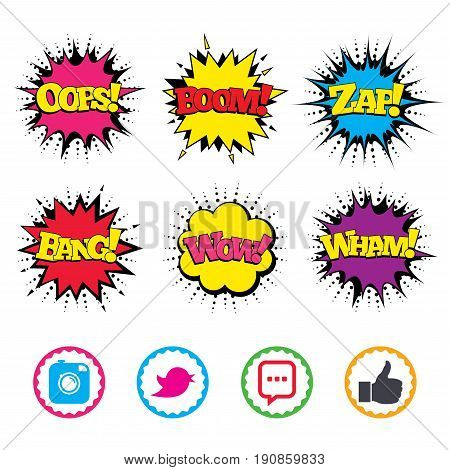 Comic Wow, Oops, Boom and Wham sound effects. Hipster photo camera icon. Like and Chat speech bubble sign. Hand thumb up. Bird symbol. Zap speech bubbles in pop art. Vector