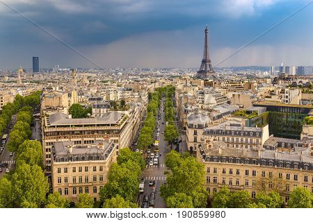 Paris City Skyline View From Arc De Triomphe With Eiffel Tower, Paris, France