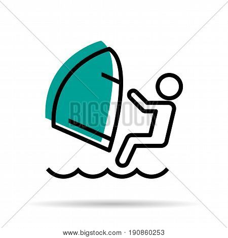 Vector linear icon - man with windsurfing sea entertainment isolated on white background
