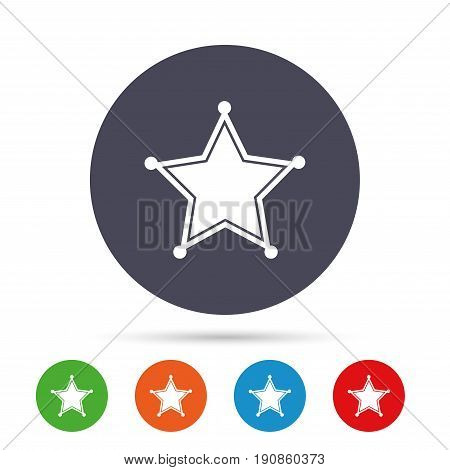Star Sheriff sign icon. Police button. Sheriff symbol. Round colourful buttons with flat icons. Vector