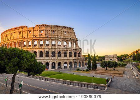 Rome Colosseum (Roma Coliseum) when sunrise Rome Italy