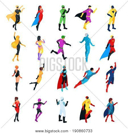 Set of isometric superheroes isolated on white background. 3d men and women view front and back. Isometric superheroes and villains. Vector illustration.