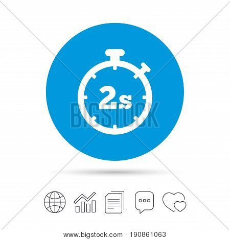Timer 2 seconds sign icon. Stopwatch symbol. Copy files, chat speech bubble and chart web icons. Vector
