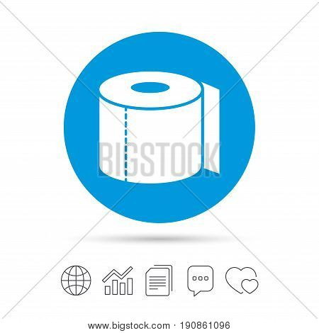 Toilet paper sign icon. WC roll symbol. Copy files, chat speech bubble and chart web icons. Vector
