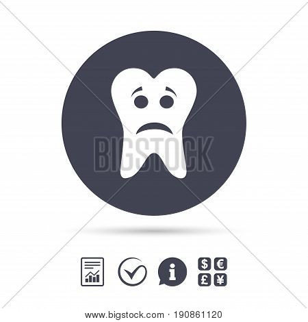 Tooth sad face sign icon. Aching tooth symbol. Unhealthy teeth. Report document, information and check tick icons. Currency exchange. Vector