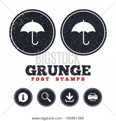Grunge post stamps. Umbrella sign icon. Rain protection symbol. Information, download and printer signs. Aged texture web buttons. Vector