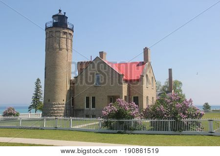 Old Mackinac Point Light on the shore of Lake Huron and Lake Michigan