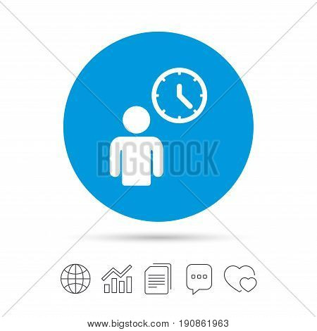 Person waiting sign icon. Time symbol. Queue. Copy files, chat speech bubble and chart web icons. Vector