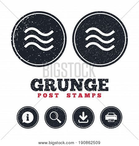 Grunge post stamps. Water waves sign icon. Flood symbol. Information, download and printer signs. Aged texture web buttons. Vector
