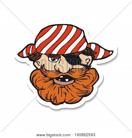 Funny bearded pirate with eye patch. Cartoon character. Vector illustration based on hand drawn art. Great choice for mascot, pirate party invitation, sticker or book illustration.
