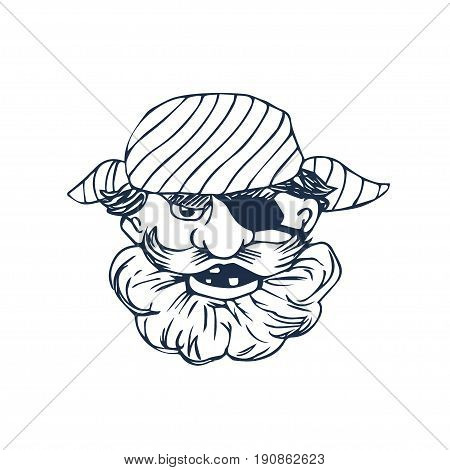 Funny bearded pirate with eye patch. Cartoon character. Vector illustration. Hand drawn art. Great choice for mascot, pirate party invitation or book illustration.