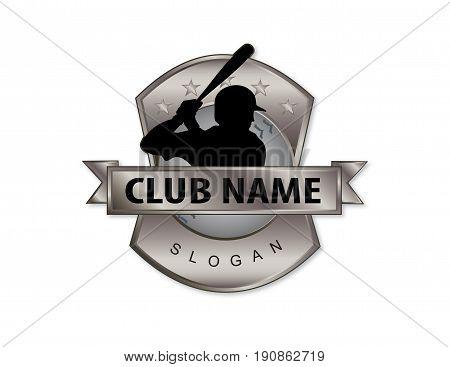 baseball player logo on a white background