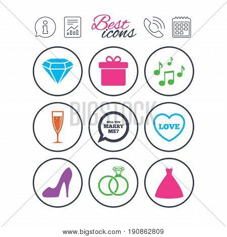Information, report and calendar signs. Wedding, engagement icons. Rings, gift box and brilliant signs. Dress, shoes and musical notes symbols. Phone call symbol. Classic simple flat web icons. Vector