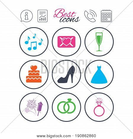 Information, report and calendar signs. Wedding, engagement icons. Cake with heart, gift box and vow love letter signs. Dress, fireworks and musical notes symbols. Phone call symbol. Vector