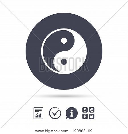 Ying yang sign icon. Harmony and balance symbol. Report document, information and check tick icons. Currency exchange. Vector
