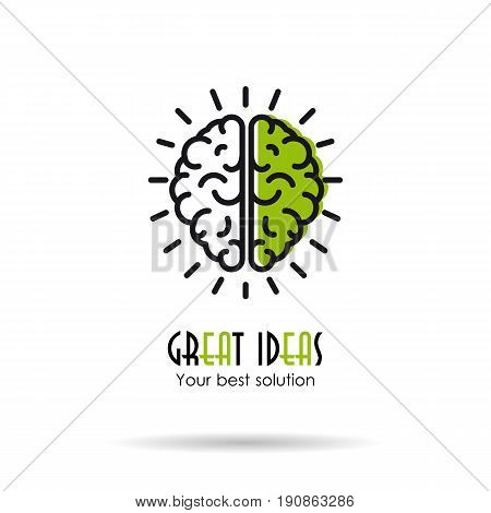Vector linear logo illustration of two parts of the human brain. Great ideas business concept isolated on white background