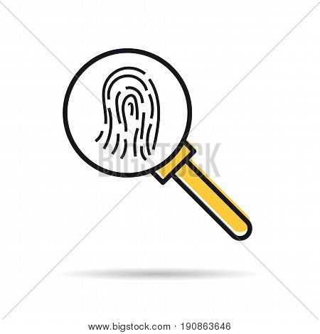 Vector linear icon - fingerprint research. Magnifier glass isolated pictogram