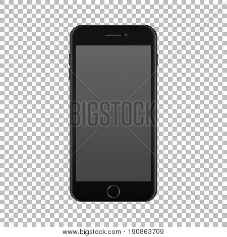 Realistic smartphone icon isolated on transparent background. Vector design template, EPS10 illustration mockup.