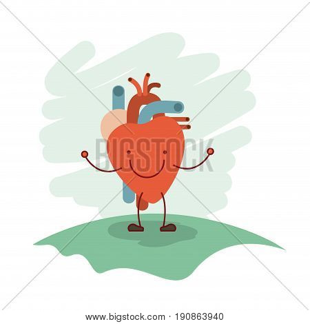 colorful scene in grass with silhouette caricature hearth system human body vector illustration