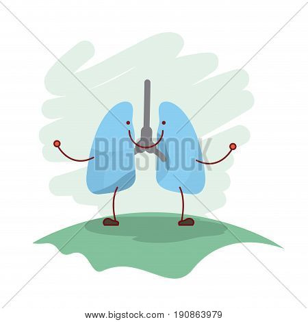 colorful scene in grass with silhouette caricature respiratory system vector illustration