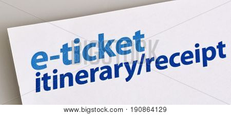 Image of an e-ticket itinerary and receipt from a travel agency